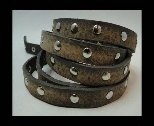 Vintage Style Flat Leather Studs-Silver-10mm-Dark Brown stripes