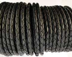 Round Braided Leather Cord SE/B/02-Black - 6mm