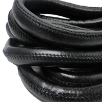 Buy Leather Cord Round Stitched Nappa Leather 12mm  at wholesale prices