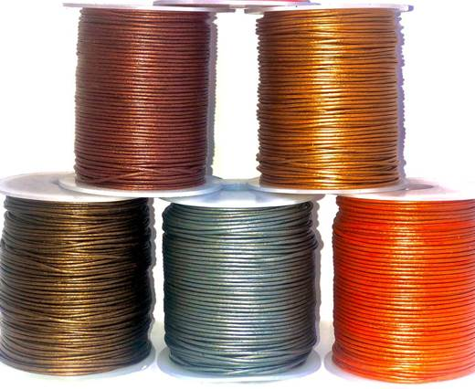 Buy Leather Cord Round Leather 1mm Metallic  at wholesale prices