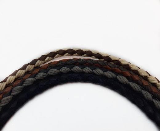 Buy Cordoncini di cuoio Cordoncini intrecciati Cordoncini di pelle intrecciata con cotone Braided Cotton Cord with Leather 4mm  at wholesale prices