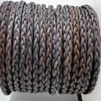 Buy Leather Cord Braided Leather Flat Flat Braided Leather Cords Braided Leather Cord 3-ply  3mm   at wholesale prices