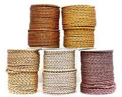 Buy Leather Cord Braided Leather Round 3mm Metallic  at wholesale prices