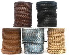 Buy Leather Cord Braided Leather Round 3mm Plain  at wholesale prices