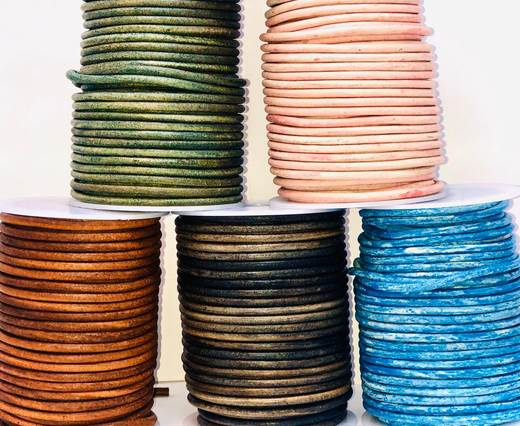 Buy Leather Cord Round Leather 4mm Vintage  at wholesale prices