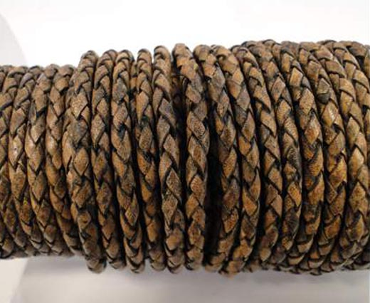 Buy Leather Cord Braided Leather Round 4mm 4mm-Braided-Vintage  at wholesale prices