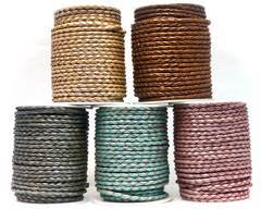 Buy Leather Cord Braided Leather Round 4mm 4mm-Braided-Metallic  at wholesale prices