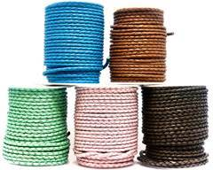 Buy Leather Cord Braided Leather Round 4mm 4mm-Braided-Plain  at wholesale prices
