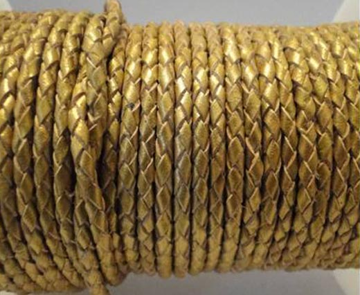 Buy Cordón de cuero Cuero trenzado Redondo 5mm 5mm-Braided-Metallic  at wholesale prices