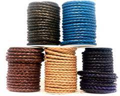 Buy Leather Cord Braided Leather Round 5mm 5MM-Braided-Plain  at wholesale prices