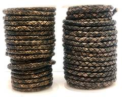 Buy Leather Cord Braided Leather Round 5mm 5mm-Braided-Vintage  at wholesale prices