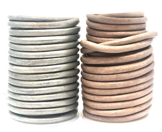 Buy Leather Cord Round Leather 6mm Metallic  at wholesale prices