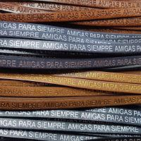 Buy Leather Cord Text Embossed Leather  Amigas Para Siempre - 7mm  at wholesale prices