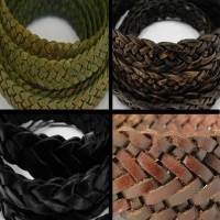 Buy Leather Cord Braided Leather Flat Flat Braided Leather Cords 6mm  at wholesale prices