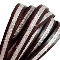 Buy Leather Cord Flat Leather Italian Leather Cord  Leather with Glitter Strip   at wholesale prices