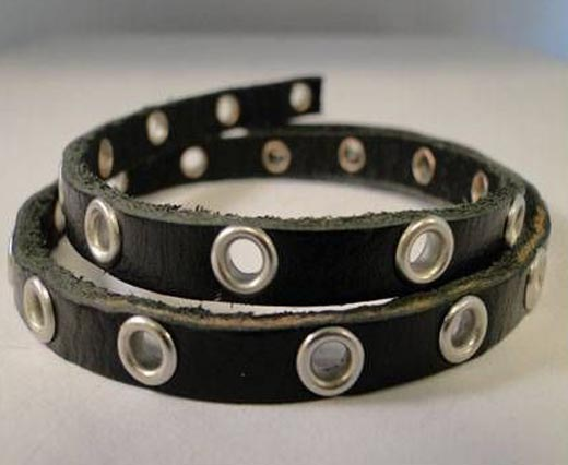 Buy Cordons en Cuir Plats Avec coutures apparentes et cloutés Leather with Hollow Rivets   at wholesale prices
