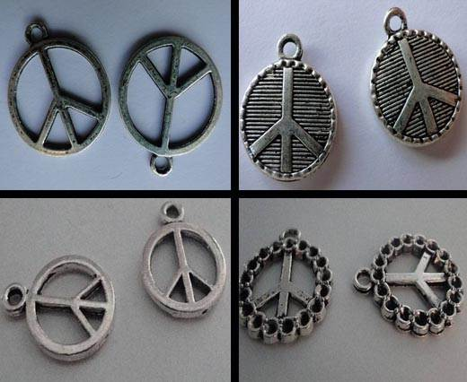 Buy Zamak / Brass Zamak Silver Plated Beads and Charms  Peace Sign  at wholesale prices