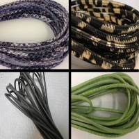 Buy Leather Cord Wholesale Nappa Leather Cords Manufacturer Round Stitched Snake Styles - 4mm at wholesale prices