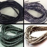 Buy Leather Cord Wholesale Nappa Leather Cords Manufacturer Round Stitched Snake and Raza Prints - 3 mm at wholesale prices
