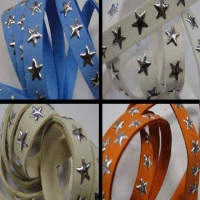 Buy Cordoncino in eco pelle Cordoncini scamosciati con borchie Suede Cords with Star Studs 10 mm  at wholesale prices