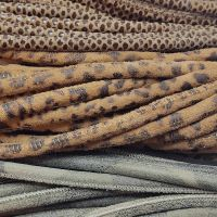 Buy Leather Cord Round Stitched Nappa Leather Scottish and Leopard Prints - 4mm  at wholesale prices