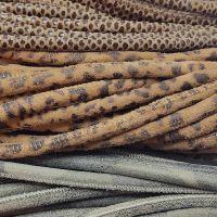 Buy Lederbänder Rund gesäumt Gemustert - 4mm   at wholesale prices