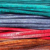 Buy Leather Cord Text Embossed Leather  Wish Dream Believe - 5 mm  at wholesale prices