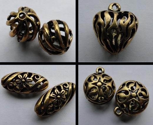 Buy Zamak, cuivre et laiton Plaqué or Grandes perles - Or antique at wholesale prices