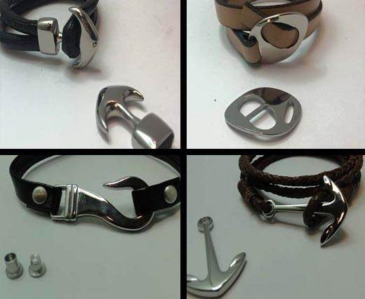 Stainless Steel Magnetic Clasps in Hooked and Arrow Style - Steel finish