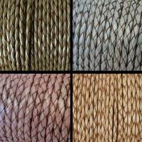 Buy Leather Cord Braided Round 3mm Metallic at wholesale prices