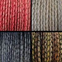Buy Leather Cord Braided Round 3mm Vintage at wholesale prices