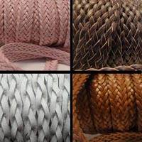 Buy Leather Cord Leather Cords Braided Bolo Flat Flat Braided Leather Cords  at wholesale prices