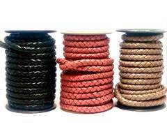 Buy Cordón de Cuero Cordón de Cuero Trenzado Redondo 8mm  at wholesale prices