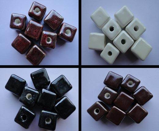 Buy Beads Ceramic Beads Cube - 8mm  at wholesale prices