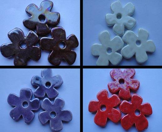 Buy Beads Ceramic Beads Flower - 37mm  at wholesale prices