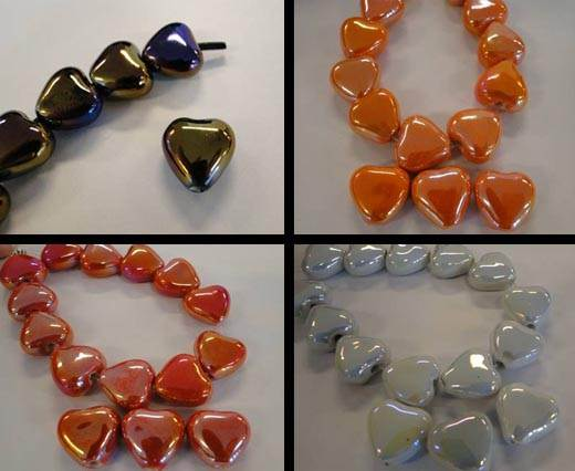 Buy Beads Ceramic Beads Hearts  at wholesale prices