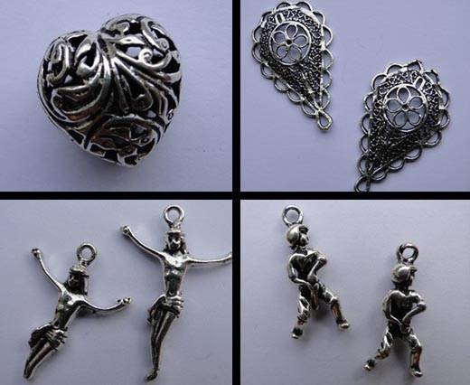 Buy Beads Silver Plated Metal Beads  Charms - Large Sizes  at wholesale prices