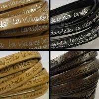 Buy Cordons de Cuir Plats Avec messages gravés  La vida es bella - 10mm  at wholesale prices