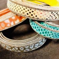 Buy Cordons en Cuir Cuir Exotique Impressions serpent avec chaînes  at wholesale prices