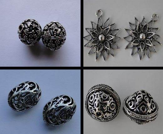 Buy Beads Silver Plated Metal Beads  Fine Beads Large Sizes  at wholesale prices