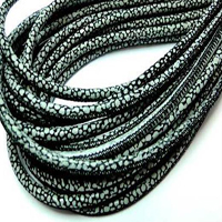 Buy Leather Cord Round Stitched Nappa Leather 4mm Round Lizard Leather   at wholesale prices