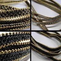 Buy Bead String material and Faux Cords Eco Flat Leather with Chains Gold  at wholesale prices