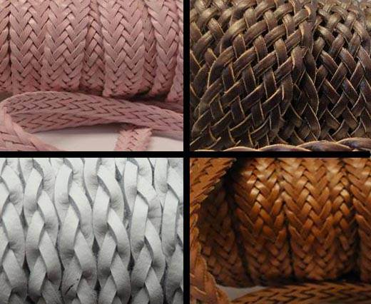 Buy Leather Cord Braided Flat Flat Braided Leather Cords  at wholesale prices