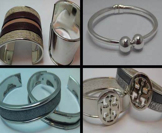 Buy Componentes de Zamak y Latón Brazaletes metálicos en cobre/latón Brazaletes en color plata  at wholesale prices