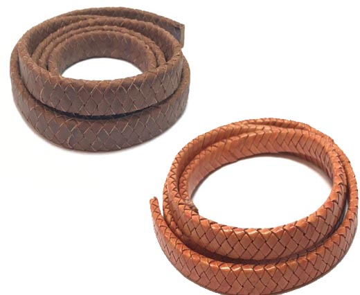 Buy Leather Cord Braided Leather Oval Oval Braided Cords - 11mm by 4.5mm  at wholesale prices