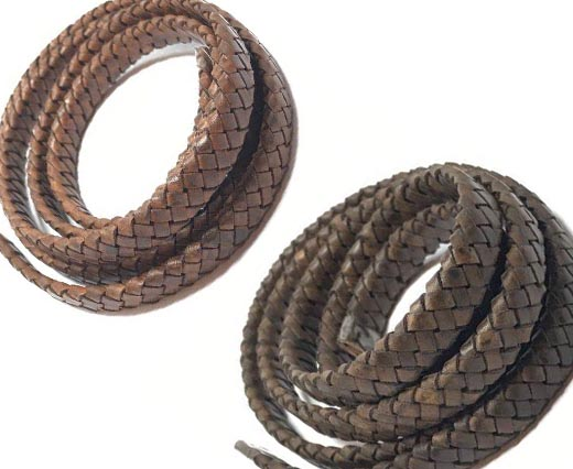Buy Leather Cord Braided Leather Oval Oval Braided Cords - 8mm  at wholesale prices