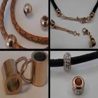 Buy Stainless Steel Findings for Leather cords Stainless Steel Parts for Leather - Rose Gold Plating at wholesale prices