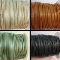 Round Leather Cords- 1mm - Metallic Shades