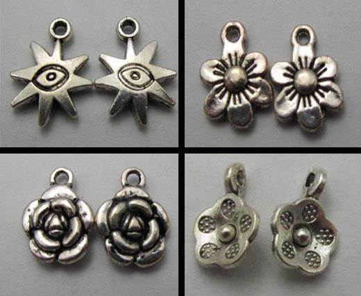Buy Zamak / Brass Zamak Silver Plated Beads and Charms  Flowers  at wholesale prices