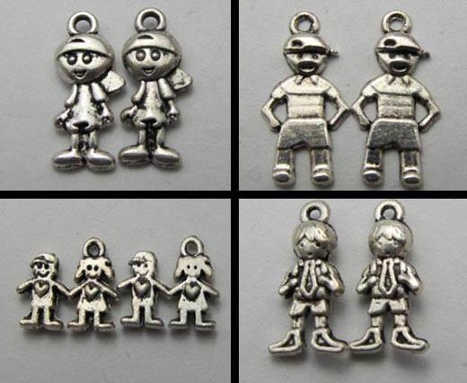 Buy Anhänger, Armreife und Chunks aus Zamak und Kupfer Versilberte Zamak Anhänger Figuren  at wholesale prices